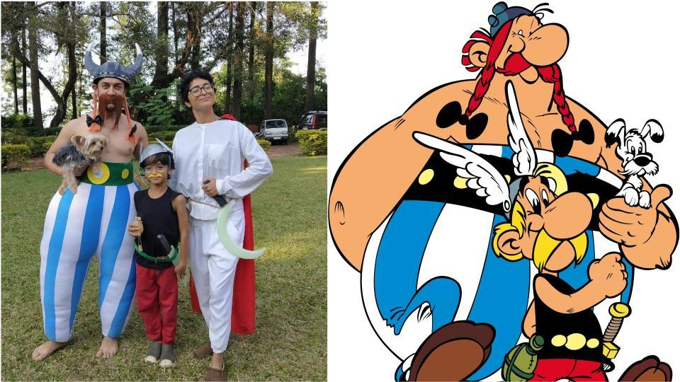 Aamir dressed up as Obelix, Azad as Asterix and Kiran Rao as Getafix the Druid with their dog as Dogmatix.