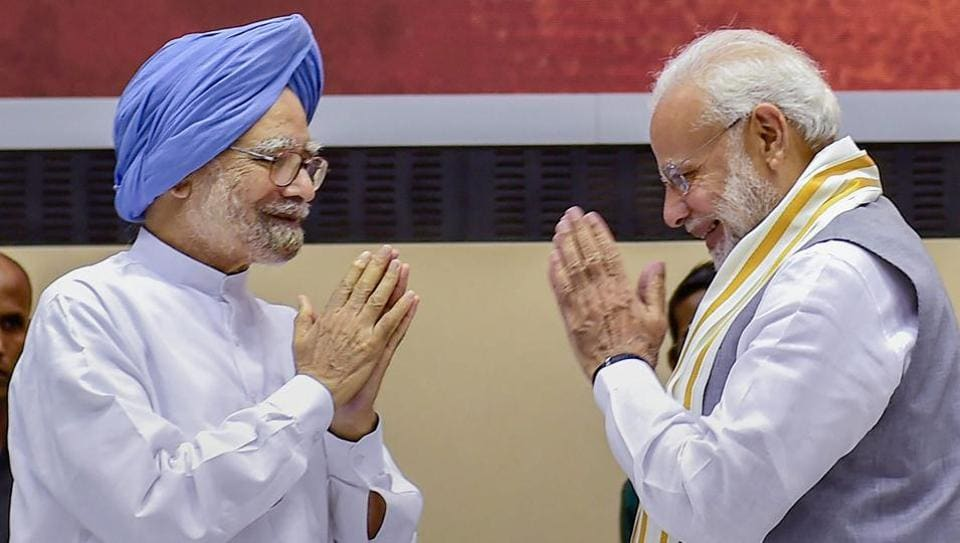 Prime Minister Narendra Modi and former prime minister Manmohan Singh during a book release in New Delhi on Sept 2, 2018.