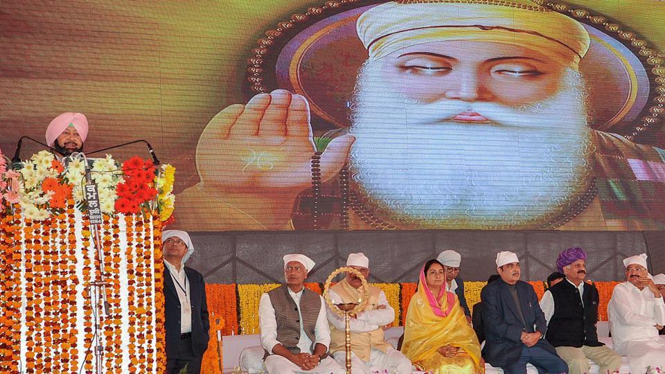 Punjab chief minister Amarinder Singh addresses during the foundation stone laying ceremony for Gurdwara Kartarpur Sahib Corridor, at Dera Baba Nanak, in Gurdaspur on November 26.