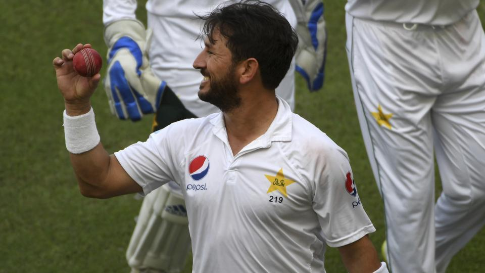 Pakistan's bowler Yasir Shah reacts as he leaves the pitch during a cricket test match against New Zealand in Dubai.