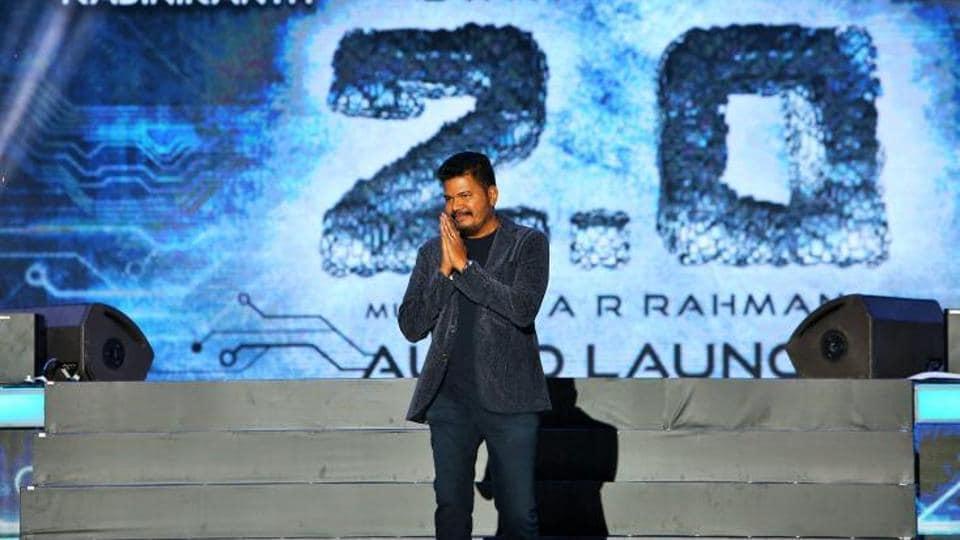 Director of 2.0 Shankar at the audio launch of the Rajinikanth, Akshay Kumar starrer.