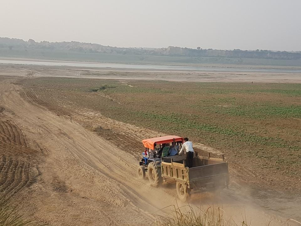 A tractor-trolley being used to transport sand illegally mined from Chambal.
