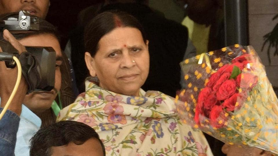 Former Bihar Chief Minister and RJD leader Rabri Devi  outside the Bihar Assembly at the start of the Winter Session at Bihar Legislative Council in Patna.