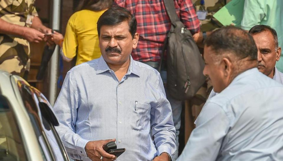Interim director of the CBI M Nageswara Rao seen at Home Minister's office, in New Delhi, Thursday, Oct 25, 2018.