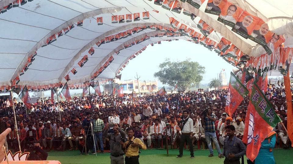 People attend a BJP election campaign ahead of Madhya Pradesh assembly elections on November 20.