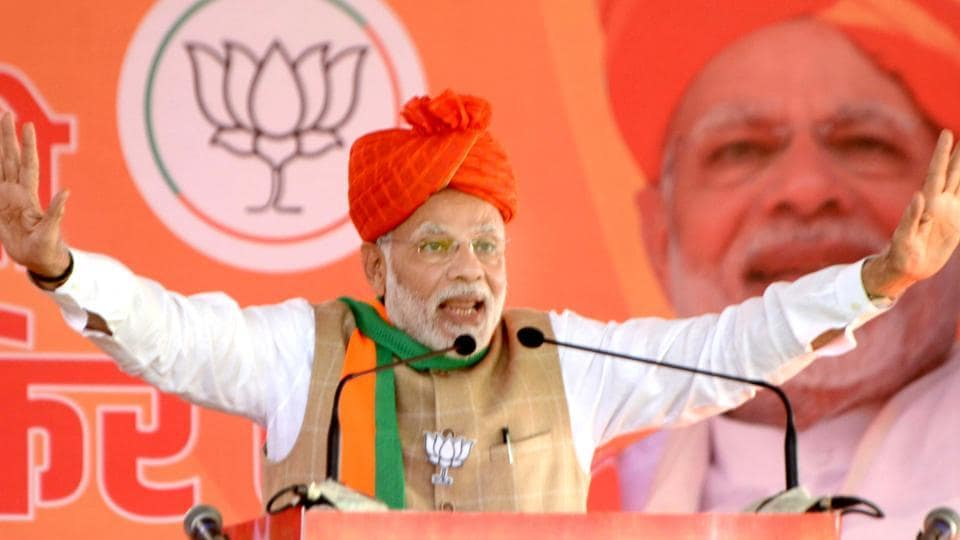 PM Narendra Modi speaks at the public meeting in Kota on Monday, November 27, 2018. The prime minister was campaigning for the BJP in the Rajasthan assembly election .