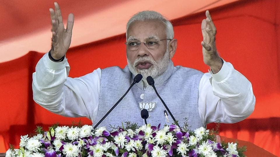 Prime Minister Narendra Modi addresses an election rally in support of BJP candidates in Nizamabad in Telangana on Tuesday.