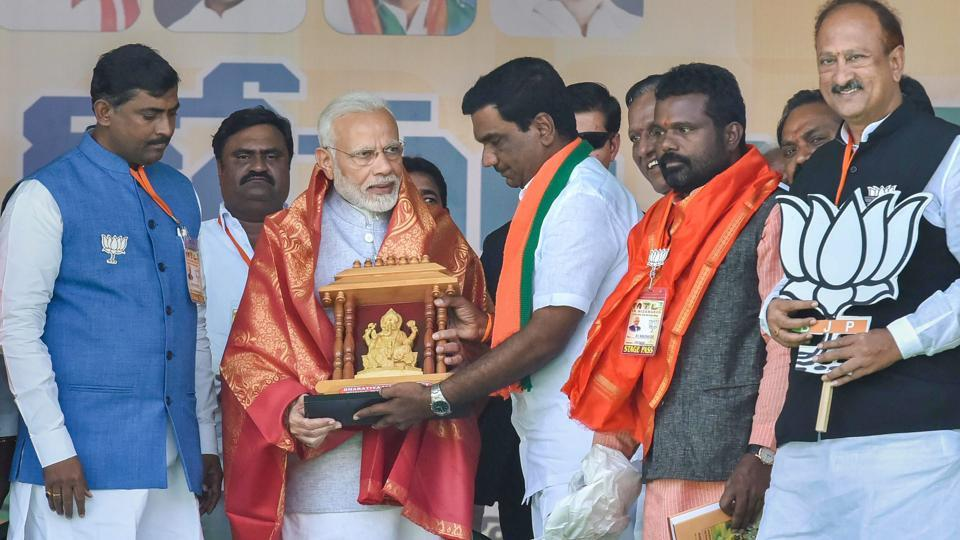 Addressing his first rally in Telangana at Nizamabad, Prime Minister Narendra Modi took on caretaker chief minister K Chandrashekar Rao, saying that he had not kept the promises he had made to the people of the state. Modi said that when KCR was elected CM, he had promised to turn Nizamabad into London. (PTI)