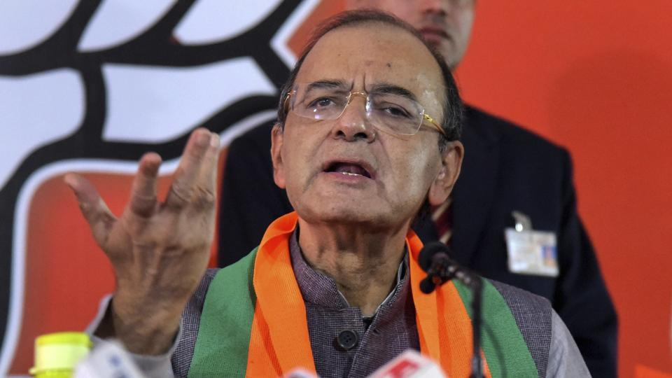 Union minister Arun Jaitley talks to the media at the release of the party manifesto for the Assembly elections in Jaipur.