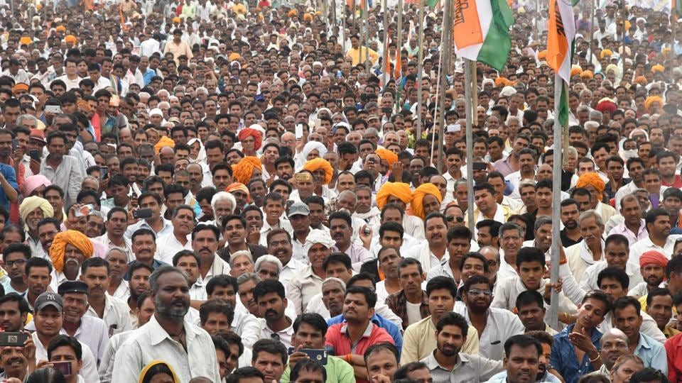 Farmers and youth at Congress' Parivartan Rally in Ujjain on May 4.