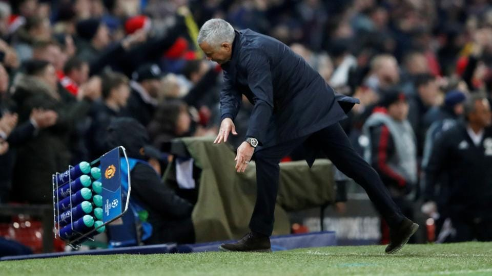 Manchester United manager Jose Mourinho reacts as he celebrates Manchester United's first goal