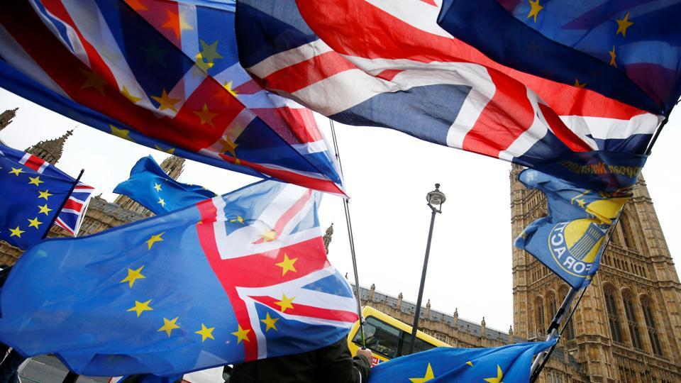 Demonstrators protest against Brexit outside the Houses of Parliament in London, Britain on November 28.