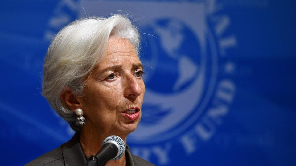 In this file photo taken on October 4, 2018 International Monetary Fund (IMF) managing director Christine Lagarde speaks during a press conference in Tokyo.