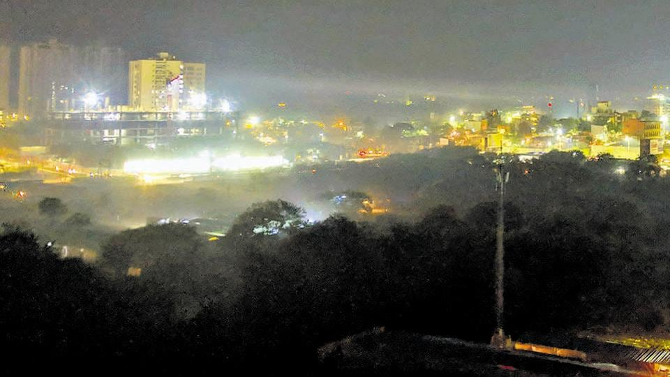 The Kharadi skyline can be seen covered in fog on Tuesday evening.