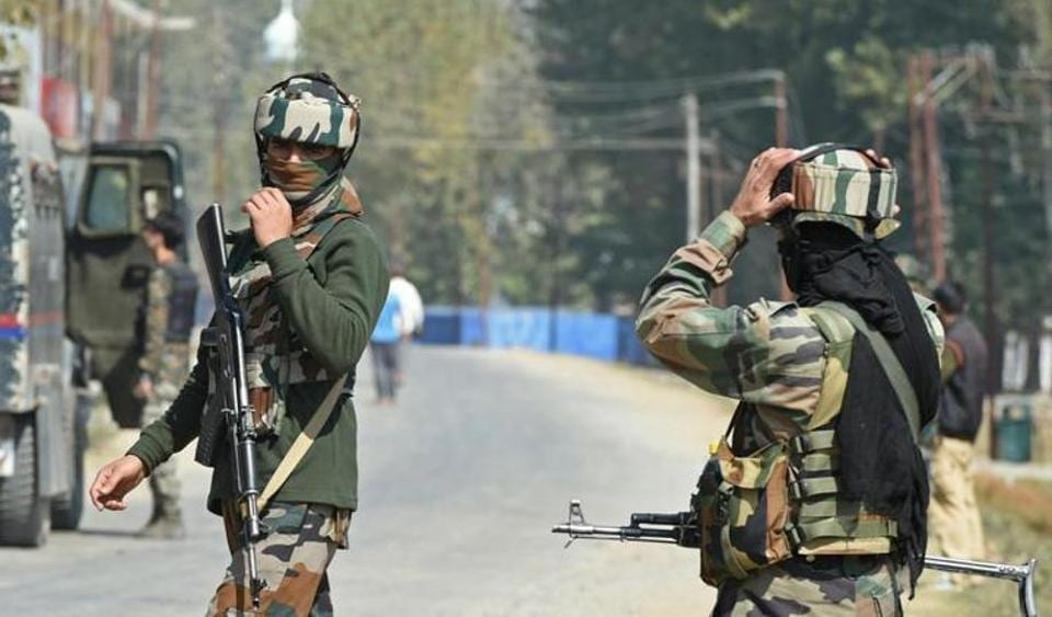 Two militants were killed and three soldiers injured in a gunfight on Wednesday in Jammu and Kashmir's Badgam district, police said.