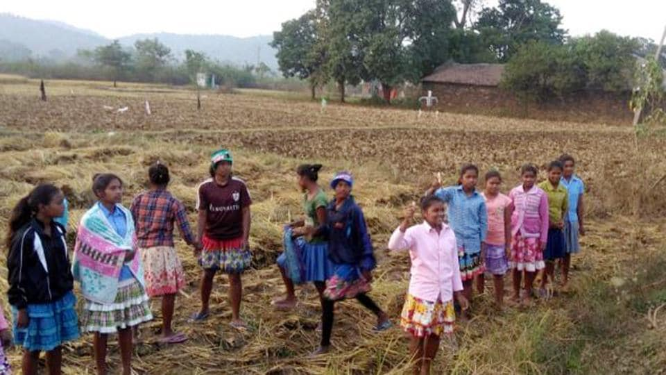 School girls spotted working in paddy field at Vijagirii village under Tamar block in Ranchi, India, on Monday
