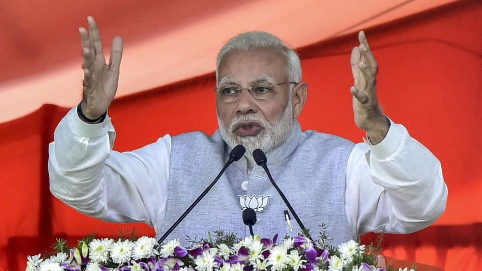 Prime Minister Narendra Modi addresses an election rally in support of BJP candidates in Nizamabad on Tuesday.