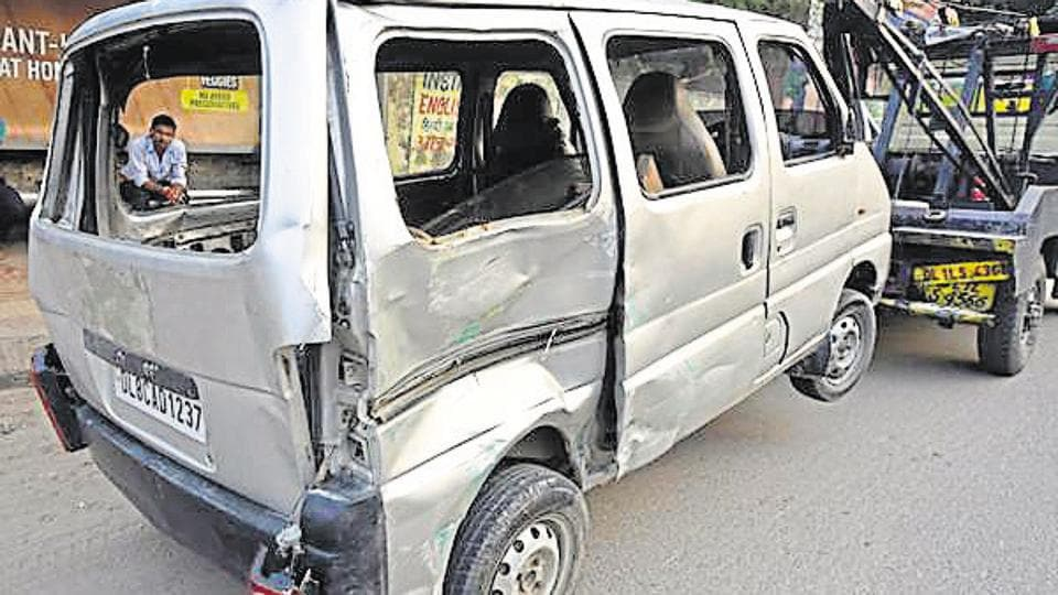 465fbcad83 An eight-year-old student of a private school in Delhi was killed and nine  other children were injured when a speeding goods carrier hit a private van  in ...