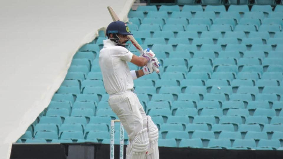 Virat Kohli plays a pull during his innings of 64 against Cricket Australia XI.