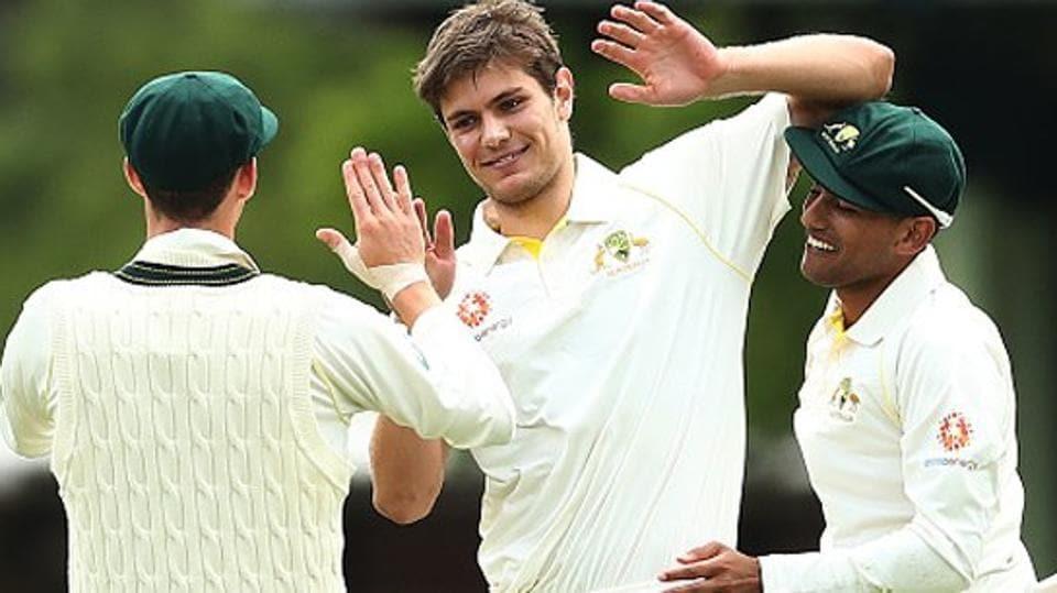 Aaron Hardie dismissed Virat Kohli during India's warm-up match against Cricket Australia XI.