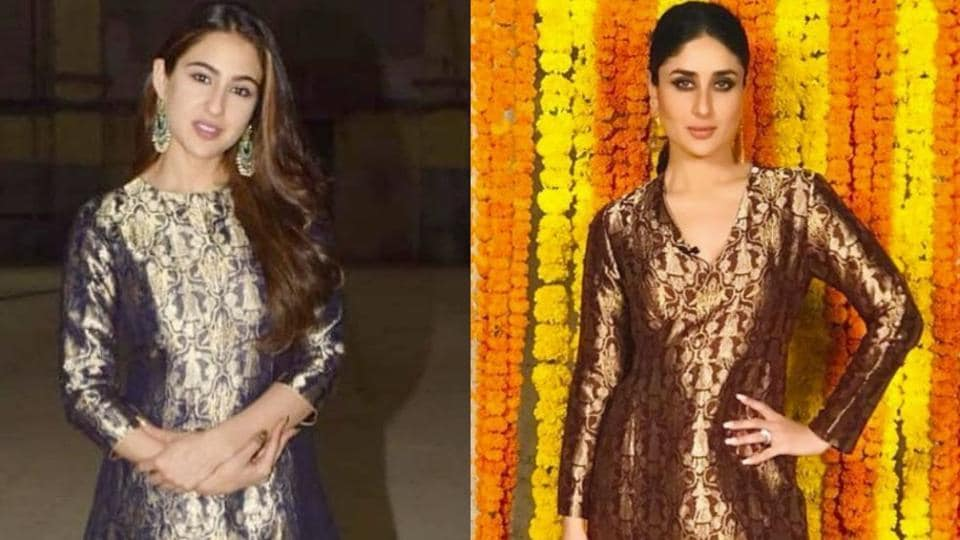 Do you prefer Sara Ali Khan's sophisticated head-to-toe brocade suit or Kareena Kapoor's brown and gold version? (Instagram)