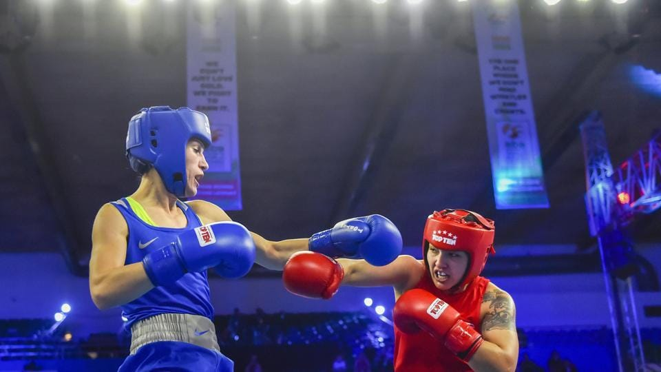 New Delhi: Stanimira Petrova (Blue) of Bulgaria fights with Rianna Rios of USA in womens' 57 kg category bout during AIBA Women's World Boxing Championships at IG Stadium in New Delhi, Saturday, Nov. 17, 2018
