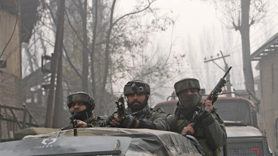 Srinagar: Army soldiers seen near the site of encounter in Chattergam, Budgam district, central Kashmir, India, on Wednesday, November 28, 2018 in which Lashkar-e-Taiba commander Naveed Jatt was killed.  November has been a month of reverses for militants who have  seen at least nine top commanders killed (File Photo)