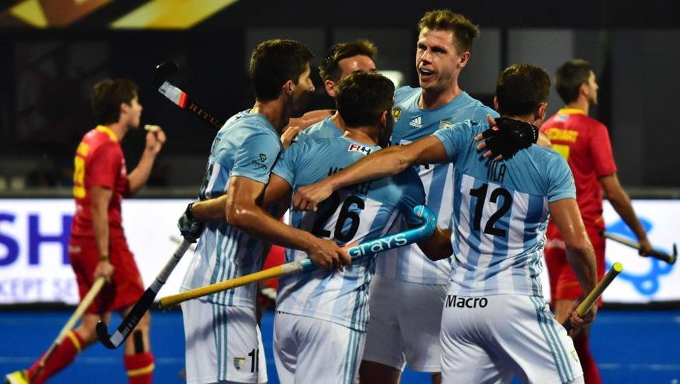 Argentina players celebrate a goal during the field hockey group stage match between Argentina and Spain at the 2018 Hockey World Cup in Bhubaneswar on November 29, 2018