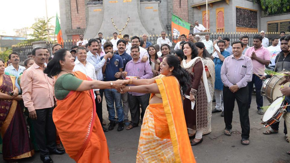 BJP workers celebrate in Pune.