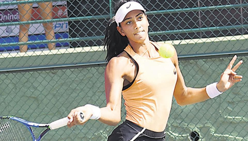 Karman Kaur Thandi in action during the $25000 Pune Open ITF women's championships at Shiv Chhatrapati sports complex on Wednesday.