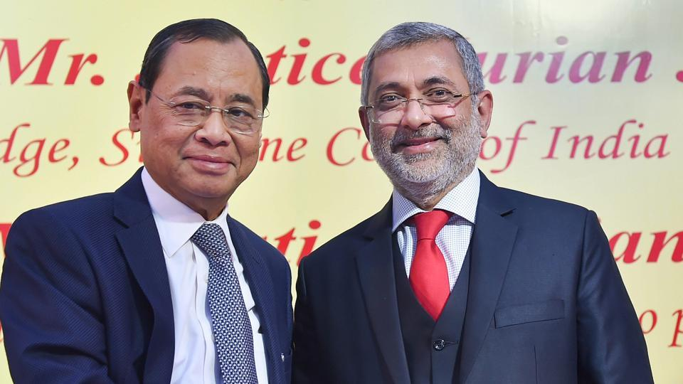 CJI Justice Ranjan Gogoi (L) shakes hands with Justice Kurian Joseph during the latter's farewell function at the Supreme Court on Thursday.