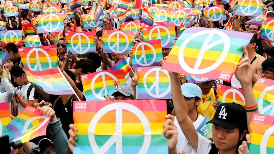 Same-sex marriage supporters take part in a lesbian, gay, bisexual and transgender (LGBT) pride parade after losing in the marriage equality referendum, in Kaohsiung, Taiwan. (Tyrone Siu / REUTERS)