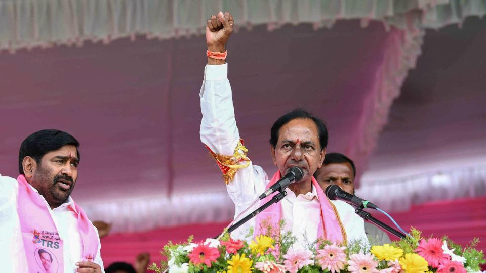 Telangana Chief Minister and TRS chief K Chandrashekar Rao addresses a public meeting at Suriyapet in Nalgunda district, Nov 23, 2018, ahead of assembly election in the state.