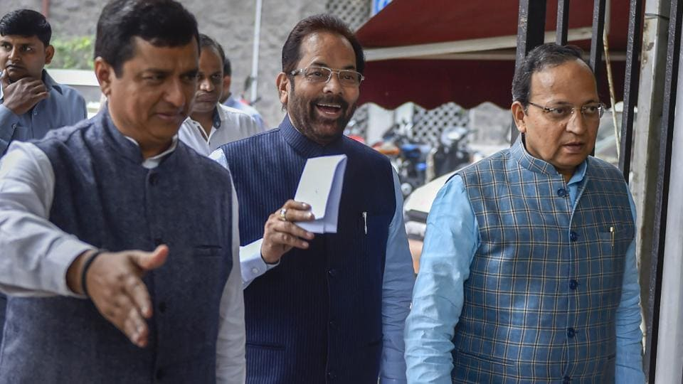 Union minister Mukhtar Abbas Naqvi leaves after a meeting with Election Commission of India, in New Delhi, Wednesday, Nov. 28, 2018.  The minister led a BJP delegation complaining about inclusion of Rohingya refugees in Telangana voters' list ahead of the December 7 assembly election in the state.