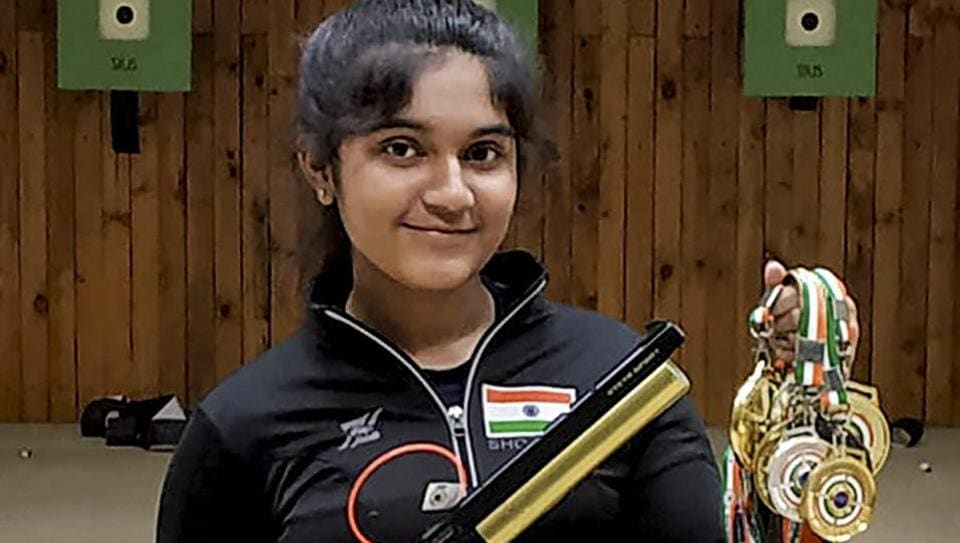 Trivandrum: 13-year old shooter Esha Singh poses for photograph with her medals that she won at 62ndNational Shooting Championships in Trivandrum, Kerala, Thursday, Nov 29, 2018