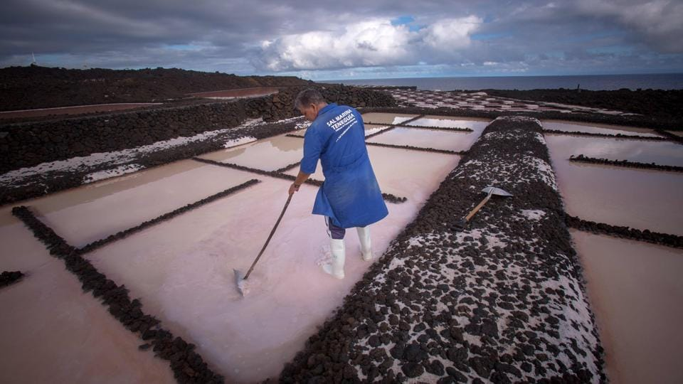 A worker collects salt from the salt pans at the Salinas de Fuencaliente, south of the island of Las Palmas in Spain. Las Salinas de Fuencaliente is an exploitation of 35,000 square metres of high quality sea salt near the Teneguia volcano range. (Desiree Martin / AFP)