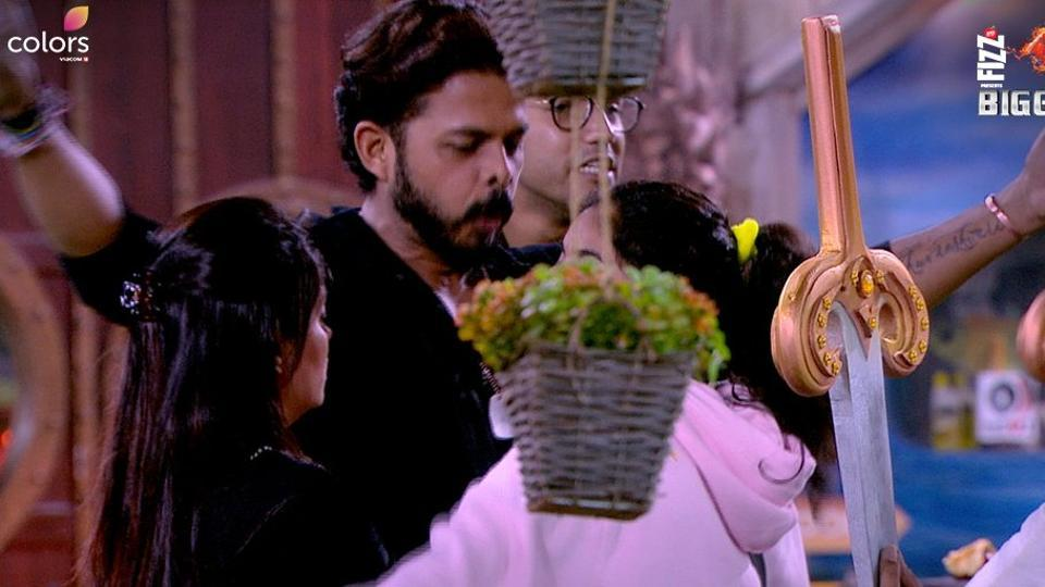 Sreesanth during a task in Bigg Boss.
