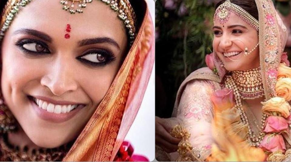 Deepika Padukone nailed the same heavy smokey eyes while Anushka Sharma opted for dewy makeup in her floral pink lehenga