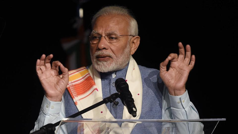 India's Prime Minister Narendra Modi speaks during a Yoga for Peace event at La Rural Convention Center in Buenos Aires, Argentina on Thursday.