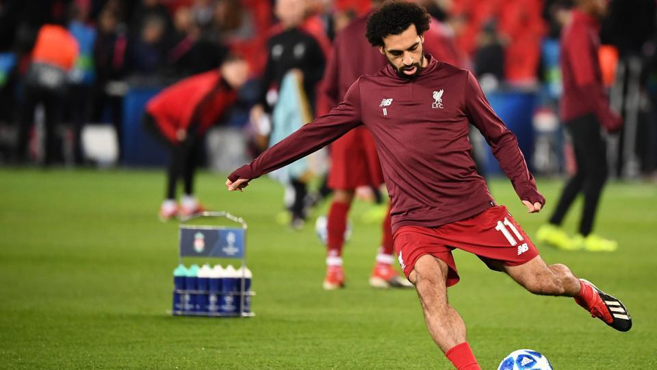 Liverpool's Egyptian forward Mohamed Salah controls the ball prior to the UEFA Champions League Group C football match between Paris Saint-Germain (PSG) and Liverpool FC at the Parc des Princes stadium