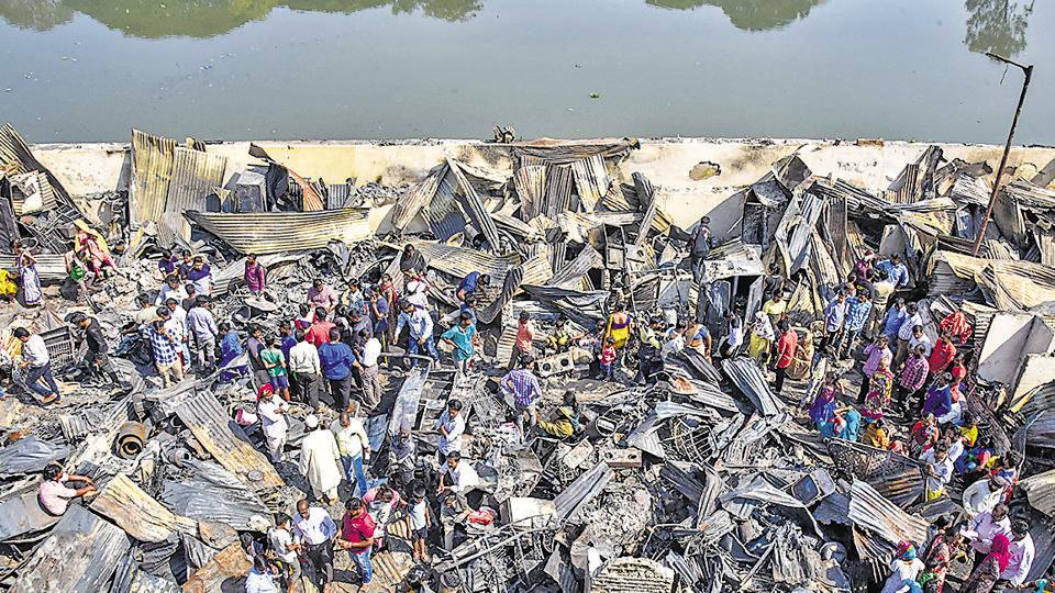 A view of the gutted shanties at the Patil Estate slums in Shivajinagar, after it caught fire on Wednesday.