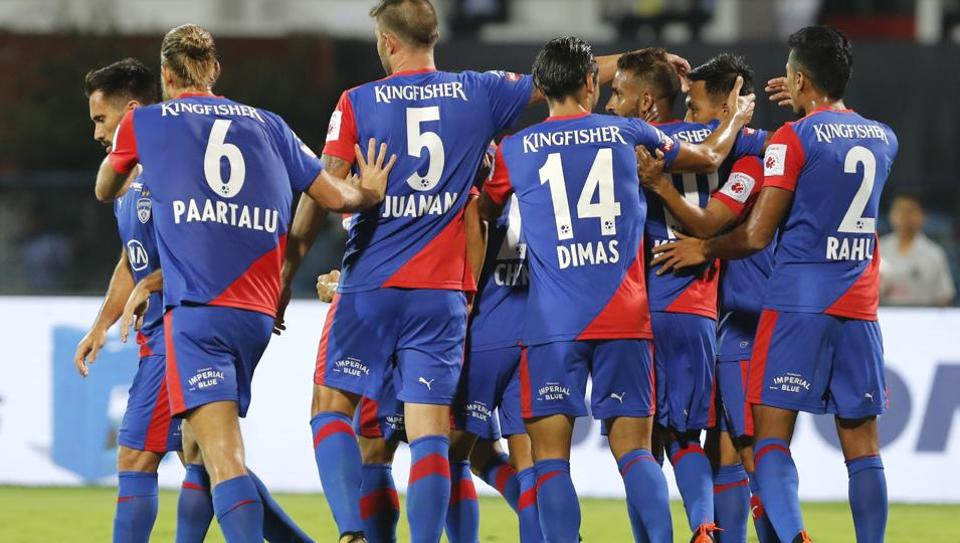 Kumam Udanta Singh, second right, of Bengaluru FC celebrates with teammates after scoring a goal during the Hero Indian Super League (ISL) soccer match between Bengaluru FC and FC Pune City in Bangalore, India, Friday, Nov. 30, 2018)