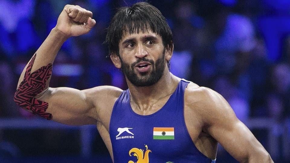Bajrang Punia reacts after winning the World Championship 2018 semifinal match in Budapest.