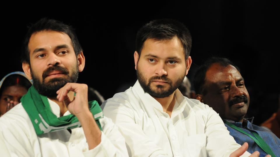 RJD president Lalu Prasad's elder son Tej Pratap Yadav Friday made his first appearance at the state assembly on the final day of the ongoing winter session but avoided crossing paths with brother Tejashwi Yadav.