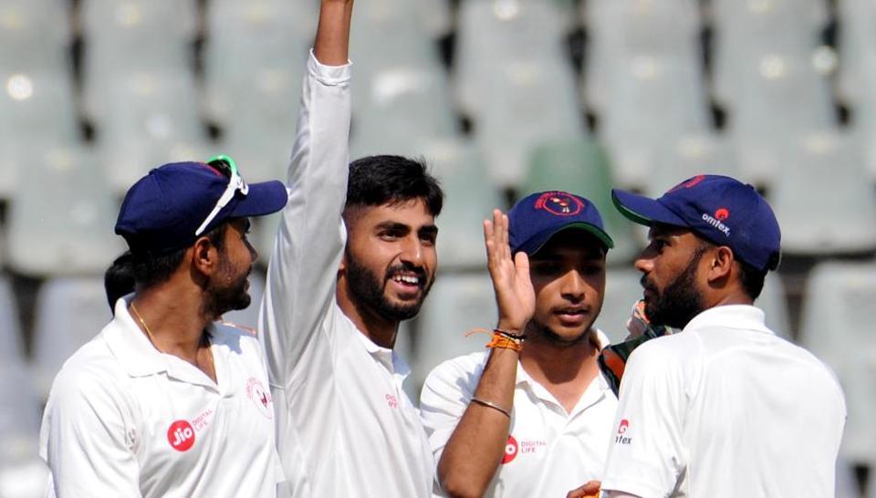 Gujarat's Bowler Chintan Gaja taken 4 wickets against Mumbai during Ranji Trophy match at Wankhede Stadium in Mumbai, India, on Friday, November 30, 2018