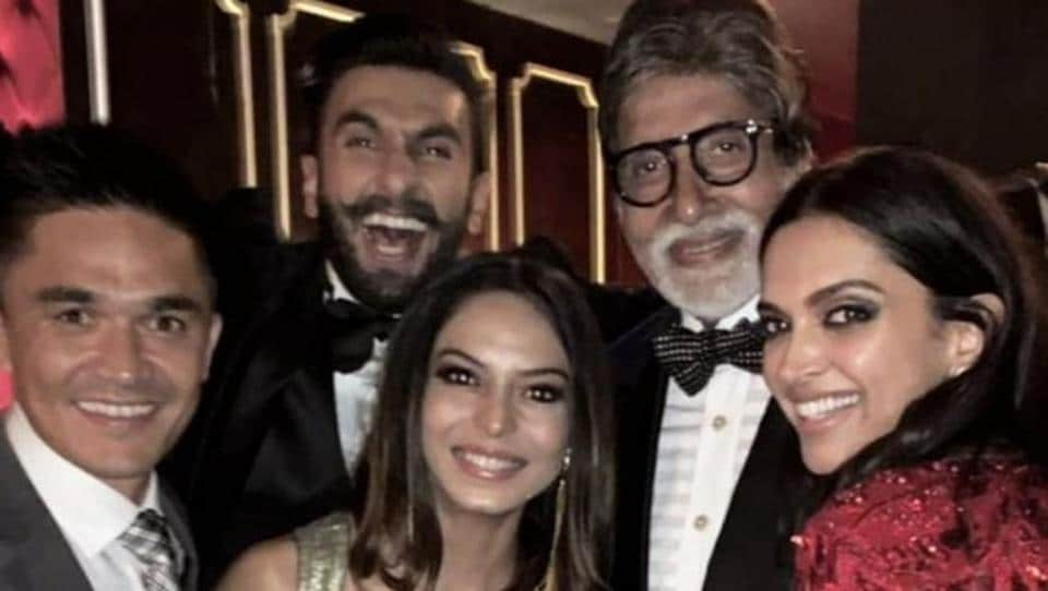 Footballer Sunil Chettri, his wife and superstar Amitabh Bachchan with Deepika and Ranveer. Amitabh and Deepika have worked together on Piku.