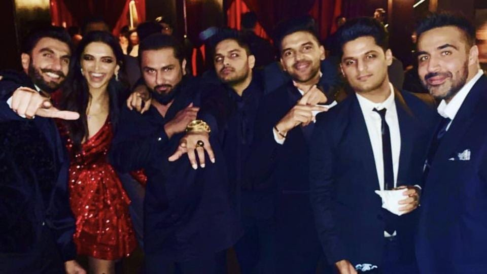 Deepika and Ranveer with a gang of singers and rappers including Honey Singh and Guru Randhawa.
