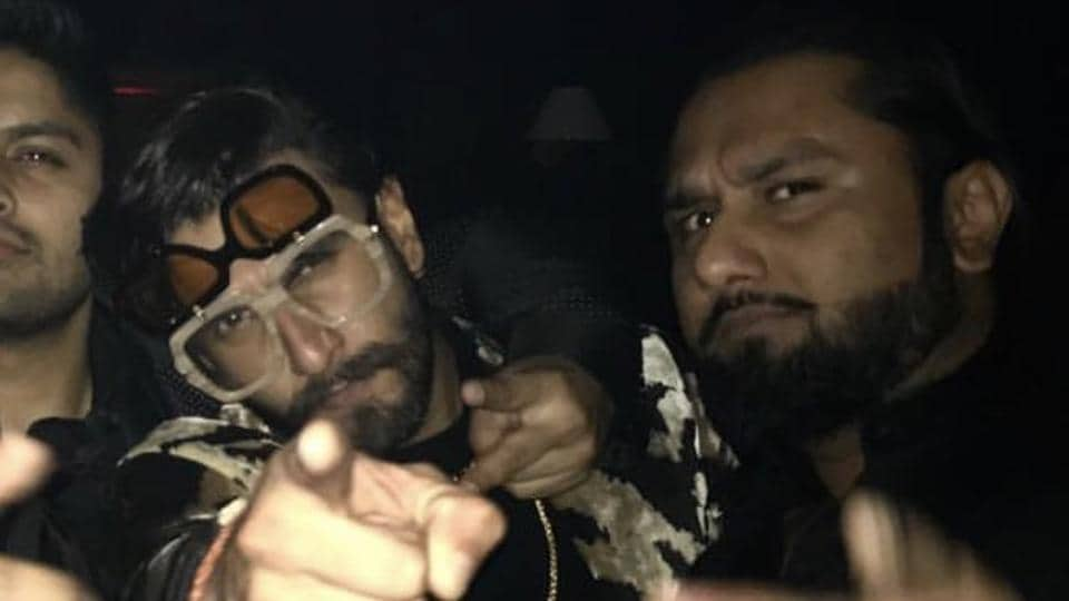 Ranveer Singh with Yo Yo Honey Singh at the party.