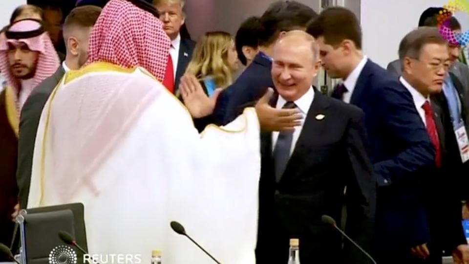 Saudi Arabia's Crown Prince Mohammed bin Salman greets Russia's President Vladimir Putin during the opening of the G20 leaders summit in Buenos Aires, Argentina.
