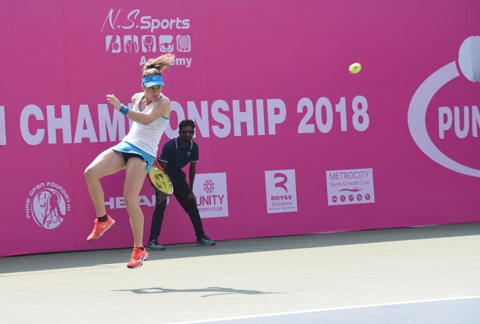 Aggressive approach helps top seeded Tamara Zidansek from Slovenia clinch the title in the BVG Pune Open ITF $25k ITF Women's Championship  against Karman Kaur Thandi at the Shiv Chhatrapati sports complex, Balewadi, Pune.  (HT/PHOTO)
